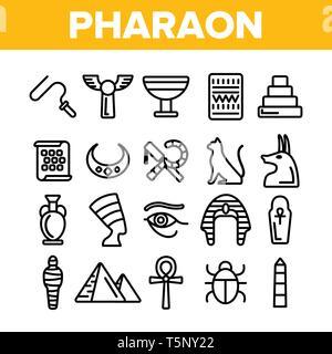 Pharao, Ägypten König Vektor dünne Linie Symbole gesetzt - Stockfoto