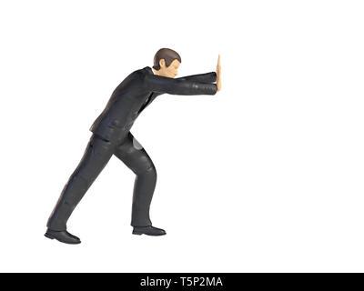 Spielzeug miniatur Geschäftsmann drücken Abbildung heben, figurine Konzept auf weißem Hintergrund - Stockfoto