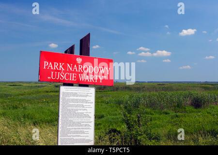 Zeichen der Ujście Warty Nationalpark/Warthe River-Mouth Nationalpark, Woiwodschaft Lebus, Polen - Stockfoto