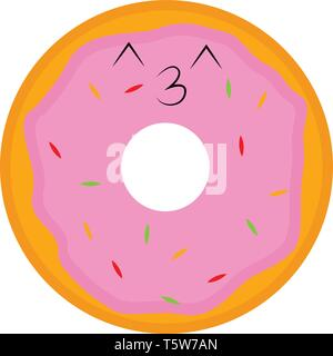 Eine braune Krapfen mit lila Zuckerguss und weiß besprüht in einem Cafe Shop vector Farbe, Zeichnung oder Abbildung platziert - Stockfoto