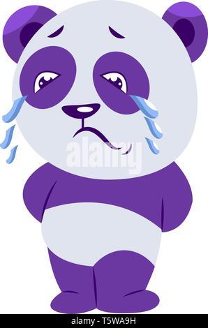 Traurig violett und weiss Panda schreien Vector Illustration auf weißem Hintergrund - Stockfoto