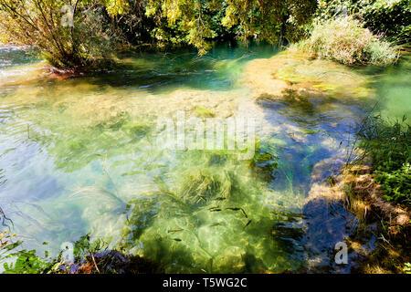 Krka, Sibenik, Kroatien, Europa - fließt mit der ruhigen Flusslauf der Krka ríver - Stockfoto