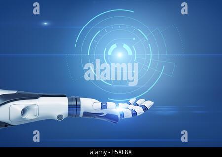 Eine ausgestreckte Roboterhand mit einem digitalen semi-klare Kreis Diagramm über es schweben. - Stockfoto