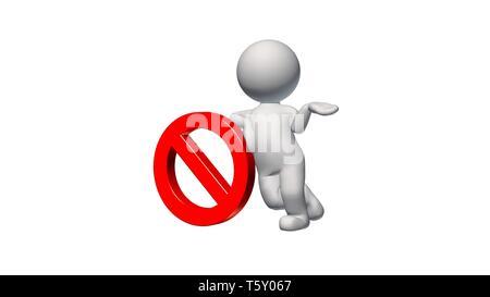 3D-Menschen mit Stoppschild auf weißem Hintergrund - Stockfoto