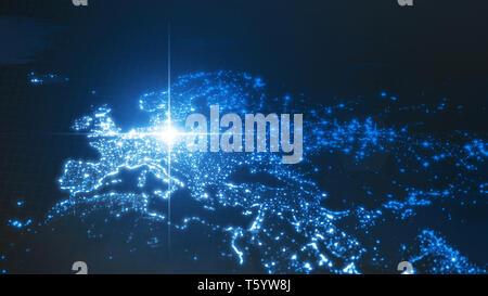 Macht von Deutschland, Energie Strahl auf Berlin. dunkel Karte mit beleuchteten Städten und dicht besiedelten Gebieten. 3D-Darstellung - Stockfoto