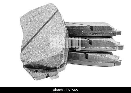 Bremsbeläge isoliert auf weißem Hintergrund. Auto Teile. Bremsbeläge isoliert auf Weiss. Bremsbeläge. Auto teil. Von Autoteilen. Ersatzteile. Schwarz und Weiß - Stockfoto