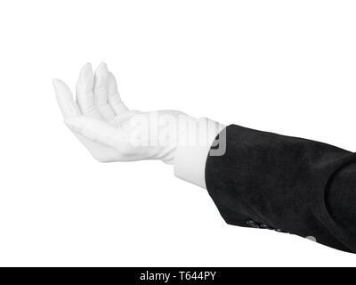 Nahaufnahme der offenen Hand in schwarzen Anzug und weissen Handschuhen geben oder etwas gefordert. Auf weißem Hintergrund mit Freistellungspfad isoliert - Stockfoto