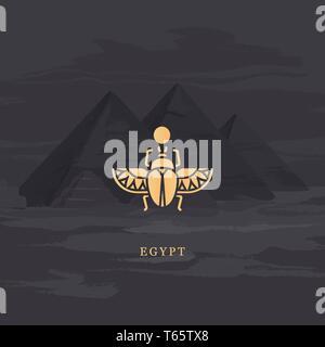 Vektor-zeichnung Symbol der Ägyptischen Skarabäus Käfer, Personifizierung der Gott KHEPRI. - Stockfoto