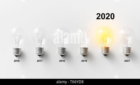 Beleuchtete Lampe mit 2020 Nummern oben in der Zeile von Dim auf weißen Hintergrund. 2020 Jahr Innovations Konzept - Stockfoto