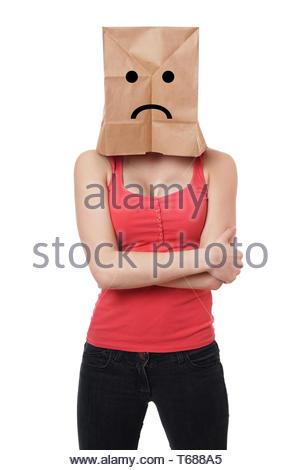 traurig Papier Tasche Frau - Stockfoto