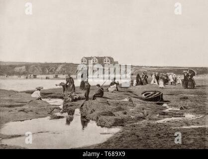 Im 19. Jahrhundert Schauplatz von Viktorianischen folk am Strand East vor dem Great Northern Hotel in Bundoran, eine Stadt im County Donegal, Irland. Die Stadt ist ein beliebter Badeort, und der Tourismus hat im Herzen der lokalen Wirtschaft seit 1777. - Stockfoto