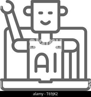 Chatbot, customer service Roboter, künstliche Intelligenz Symbol Leitung. - Stockfoto