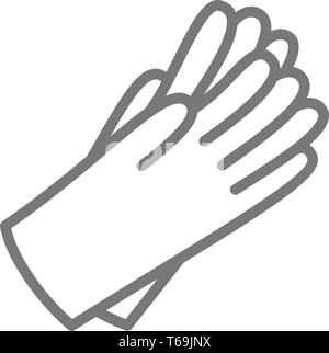 Schutzhülle aus Gummi Handschuhe Symbol Leitung. - Stockfoto