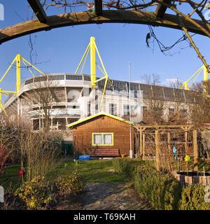 Schrebergarten vor der Signal Iduna Park Fußball Stadion des BVB, Dortmund, Deutschland - Stockfoto