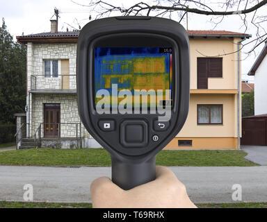 Doppelhaushälften Infrarotkamera - Stockfoto