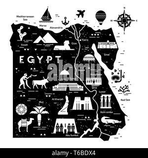 Umrisse und Silhouette Karte von Ägypten - Vector Illustration Hand gezeichnet mit schwarzen Linien im Hintergrund mit Symbolen Symbole Sehenswürdigkeiten von Ägypten. - Stockfoto