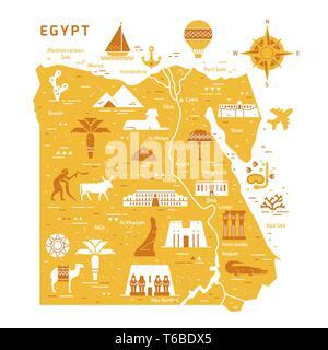Umrisse und Silhouette Karte von Ägypten - Vector Illustration Hand gezeichnet mit Linien, auf Hintergrund isoliert mit Symbolen Symbole Sehenswürdigkeiten von Ägypten. - Stockfoto