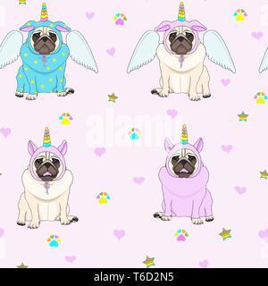 Cute nahtlose Muster mit Unicorn Mops hunde, Pfotenabdruck, Sterne und Herzen, transparenter Hintergrund - Stockfoto