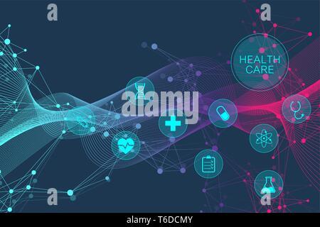 Medizinische abstrakt Hintergrund mit health care Symbole. Medizintechnik netzwerk konzept. Verbundenen Linien und Punkte, Wave-flow, Moleküle, DNA. Medizinische - Stockfoto