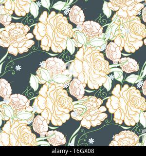 Nahtlose Hintergrund mit rosa Rosen. Ornamentale Muster mit schönen Garten Blumenmotiven. Toll für Gewebe und Textilien, Tapeten, Verpackung oder - Stockfoto