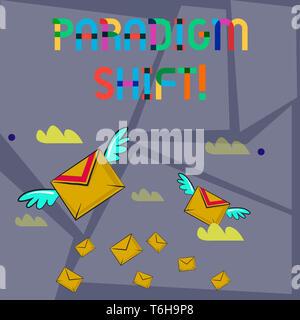 Wort schreiben Text Paradigmenwechsel. Business foto Präsentation grundlegende Änderung in der Annäherung oder der zugrunde liegenden Annahmen, viele bunte Postkarten Flying Lett - Stockfoto