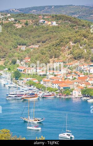 Skradin, Kroatien, Europa - Segelschiffe im Hafen von Skradin - Stockfoto