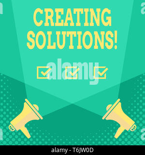 Handschrift Text Erstellen von Lösungen. Konzeptionelle Foto, Wege, um ein Problem zu lösen oder den Umgang mit Situation leer Doppel Spotlight und Quer durch Upwa - Stockfoto