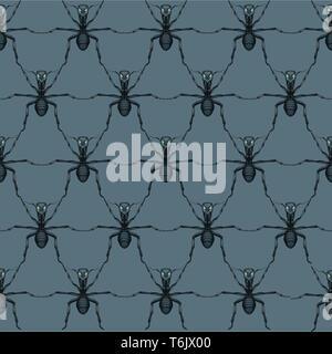 Ameisen - Kooperation in der Demonstration - Begriff - nahtlose Muster - Sechskant Komposition - wiederholt auf grauem Hintergrund Stockfoto