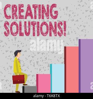 Handschrift Text Erstellen von Lösungen. Konzeptionelle Foto, Wege, um ein Problem zu lösen oder den Umgang mit Situation Geschäftsmann mit einem Aktenkoffer in Pe - Stockfoto