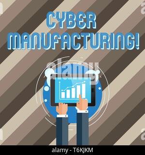 Text Zeichen angezeigt Cyber Herstellung. Business Foto Text transformative Konzept, welches die Übersetzung der Daten Geschäftsmann Hand berühren, soll - Stockfoto