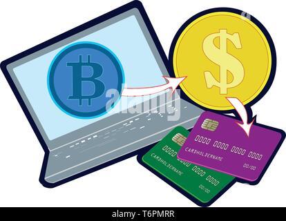 Bitcoins Konzept. Laptop, Kreditkarten und Münzen - Stockfoto