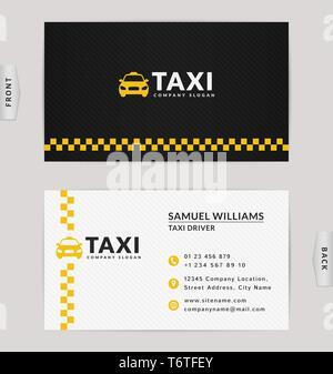 Business Card Design in Schwarz, Weiß und Gelb. Vektor Vorlage für Taxiunternehmen und Taxifahrer. - Stockfoto
