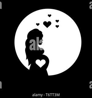 Schöne Mädchen mit Bauch schwanger Schatten schwarz und weiß mit Herzen für den Muttertag - Stockfoto
