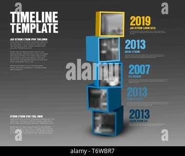 Vektor timeline Vorlage aus Gelb und Blau Würfel mit Fotos - dunkle Version vorgenommen. - Stockfoto