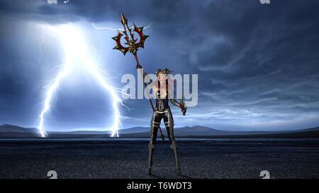Antike Warrior Queen, weiblichen Fantasy fighter in Battle Armor Holding mittelalterlichen Speer und Schwert, 3D-Rendering - Stockfoto
