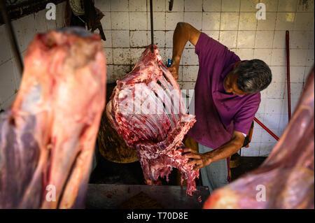 Metzger schneiden von Fleisch in Kandy Municipal Central Market, Kandy, Sri Lanka - Stockfoto