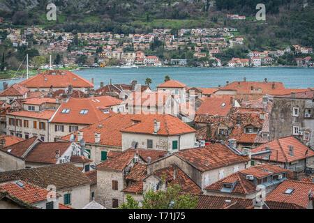 Rot gedeckte Häuser Dächer von Kotor - Stockfoto