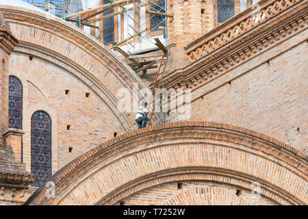 Renovierung der Kathedrale von Cuenca Ecuador - Stockfoto