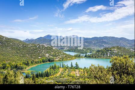 Luftbild des schönen Gränna Seen in Neretva Bezirk, Kroatien - Stockfoto