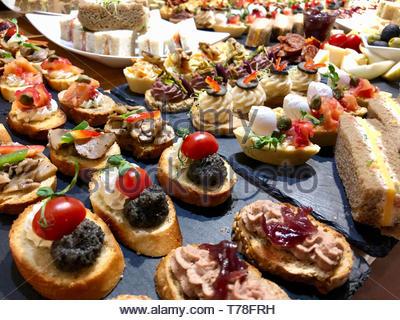 Mediterrane Gourmetküche Appetithäppchen (Tapas): Mini-Sandwiches, Bruschetta, Tomaten, Mozzarella, Eier und schwarzen Oliven, geräucherten Lachs, Salami. - Stockfoto