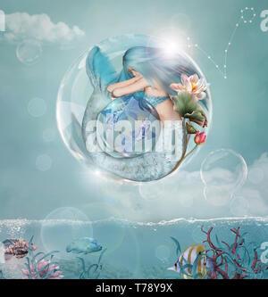 Sternzeichen - Fische als wunderschöne Meerjungfrau in einer Blase - Stockfoto
