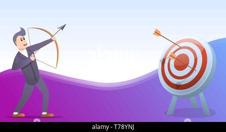 Bogenschießen Konzept Banner. Cartoon Illustration des Bogenschießens vektor Konzept Banner für Web Design - Stockfoto