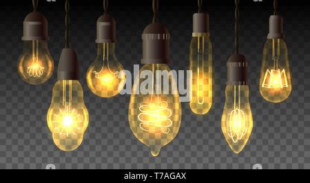 Retro Watt Glühbirnen. Steampunk Licht Lampen, vintage Vektor-Lampen, Inneneinrichtung Glühbirnen mit realistischen Strom Filamente - Stockfoto
