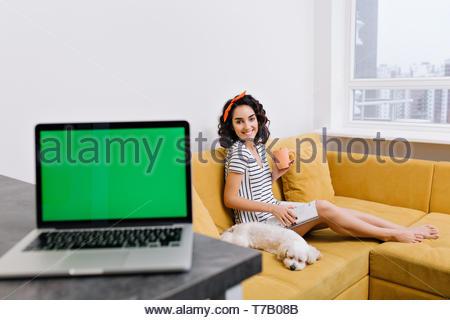 Hübsche, junge Frau mit Cut brünette Haar lächelnd in die Kamera, Chillen auf dem Sofa mit einem Hund im Wohnzimmer. Laptop mit Green Screen auf der Vorderseite. Freie Zeit zu Hause, Komfort - Stockfoto