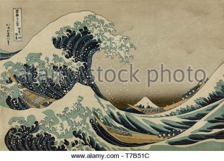 - After-Katsushika Hokusai-Kanagawa oki Nami ura, (die große Welle an der Küste von Kanagawa) - Stockfoto