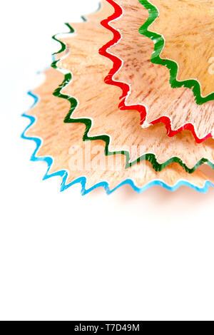 Platz und bunte Kreide bleistift Holzspäne - Stockfoto