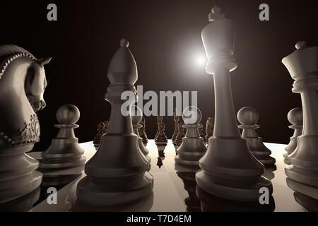 3D-Rendering von einem niedrigen Winkel Blick auf ein Schachspiel bereit zu beginnen - Stockfoto