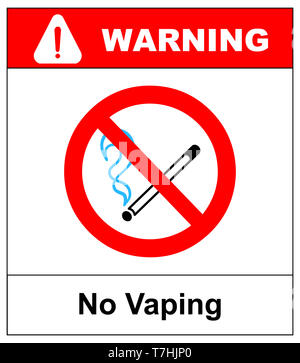 Keine vaping unterzeichnen. Nicht rauchen Elektronische Zigarette Symbol. Abbildung isoliert auf Weiss. Warnung verbotene rote Symbol für öffentliche Plätze, fertig für den Gebrauch. - Stockfoto