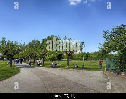 Die von Bäumen gesäumte Straße schlängelt sich durch den Park. Die Menschen sind auf dem Rasen genießen der schönen Frühlingstag. - Stockfoto