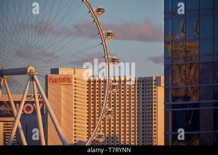 In Las Vegas, Nevada USA, Skyline des Streifens, High Roller 550 Fuß hohe Durchmesser Riesenrad von Caesars Entertainment Corporation betrieben Curren - Stockfoto
